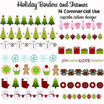 Holiday Border Christmas Digital Clip Art Set