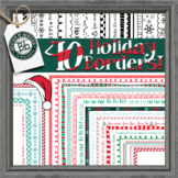 Christmas Borders Skinny Color Clipart: 40 Holiday Winter pngs