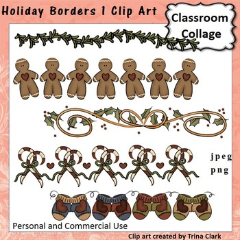 Holiday Borders Clip Art - color - personal & commercial use