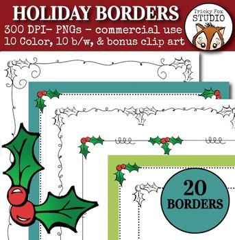 Holiday Borders with Bonus Holiday Clipart