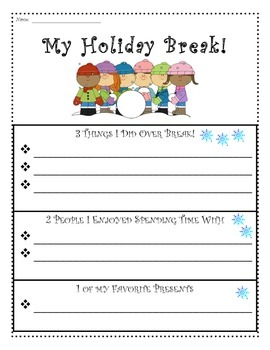 Holiday Break 1-2-3 Writing ** Graphic Organizers, Templates & Paper