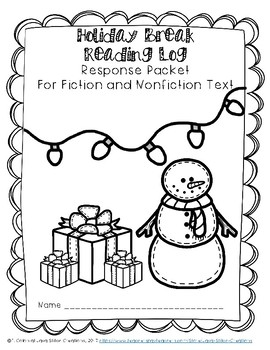 Holiday Break (15-Day) Reading Log Response Packet, Fiction and Nonfiction Text