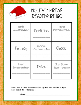 Holiday Break Reading Bingo