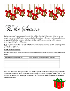 Holiday Budgeting Project with Sales Tax Review