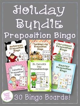 Holiday Bundle of Preposition Bingo