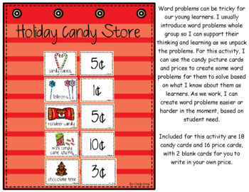 Holiday Candy Store ~ Word Problems for Christmas