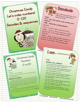 Holiday Candy-numbers to 120-CCS K-1 - counting, i.d. & sequencing