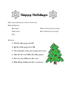 Holiday Card Reading Activity