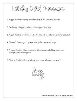 Holiday Card Writing Outline