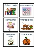 Holiday Cards for Classroom Calendar in Spanish & English