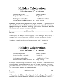 Holiday Celebration Letter