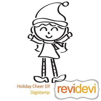 Line art Holiday Cheer Elf (digital stamp, coloring image) S036, santas helper