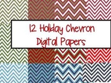 Holiday Chevron Digital Paper
