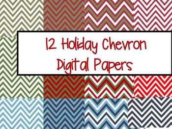 Holiday Chevron Digital Paper