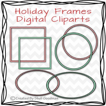 Holiday Chevron Frames - Digital Clipart