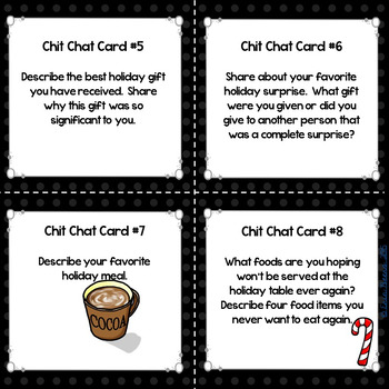 Winter Holiday Chit Chat Cards FREEBIE for Grades 4-8 Common Core Aligned