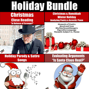 Christmas Parody.Holiday Christmas Activities Bundle Close Read Argument Poetry Parody