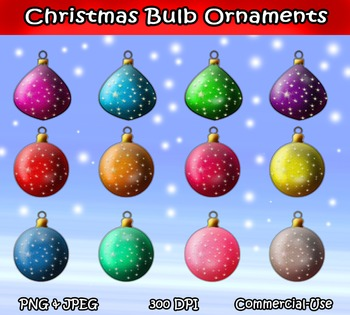 Holiday Christmas Bulbs Clipart Digital Graphics Designs Instant Download