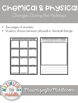 Holiday / Christmas Chemical and Physical Changes Activity