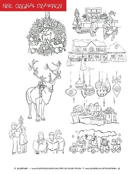 Holiday Christmas Coloring Pages - Nine original drawings, all drawn by hand