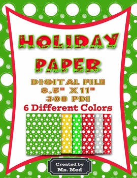 Holiday Christmas Digital Scrapbook Paper