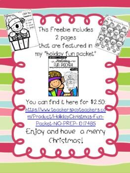 Holiday/Christmas Fun Packet! NO-PREP! FREEBIE!
