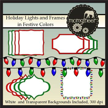 Holiday Christmas Lights Clip Art and Frames: Commercial Use Graphics