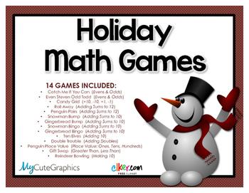 Math Games Bundle (Holiday, Christmas) 1.OA.C.6, 1.OA.B4, 2.OA.B.2, 1.NBT.3,
