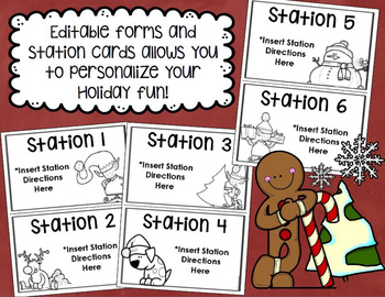 Holiday Christmas Party Starter Pack Templates, Forms and Stations EDITABLE