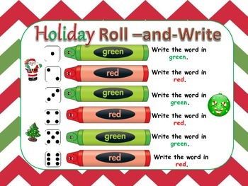 Holiday *Christmas* Roll and Write for Word Work or Spelling Practice