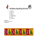 "Holiday ""Christmas"" Spelling List"
