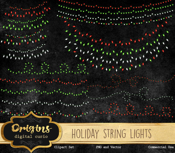 Holiday Christmas String Lights, Vector EPS and PNG