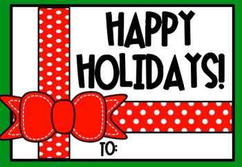 Holiday Christmas Student Gift Tags Freebie