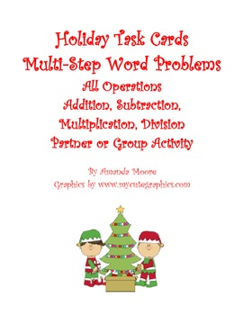 Holiday Christmas Task Cards: Addition, Subtraction, Multi
