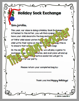 Holiday Christmas Winter Sock Gift Exchange For Class Party