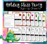 Holiday Class Party Parent Sign Up Sheets