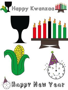 Holiday Clip Art (Christmas, Kwanzaa, Hanukkah, New Year)