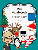 Holiday Clip Art Santa Penguin Rudolph Snowman Hot Chocolate Tree Candy cane