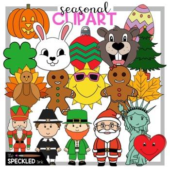 Holiday Clip Art. Seasonal Clip Art. 11 Black and White Clip Art Pieces.