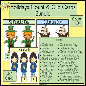 Holiday Count and Clip Cards Bundle