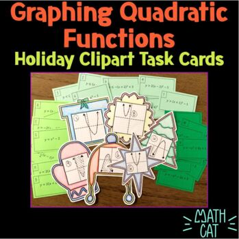Holiday Clipart Cards- Graphing Quadratic Equations and Inequalities