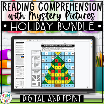 Close Reading Comprehension w/ Mystery Picture Activity *Holiday Bundle*