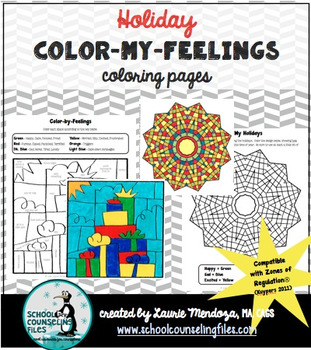 Holiday Color-My-Feelings Coloring Pages