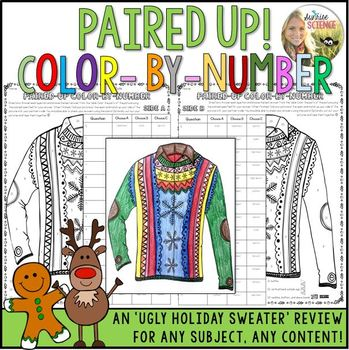 Holiday Color by Number Review Pair Check Activity Christmas Sweater Any Content