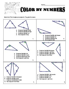 Holiday Color by Numbers - Congruent Triangles #2