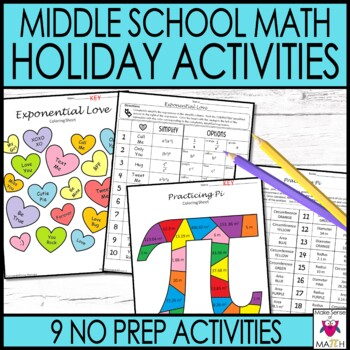 Holiday Coloring Activities Middle School Math