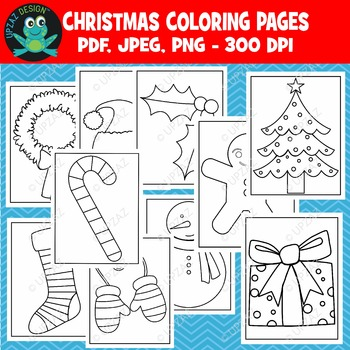 Holiday Coloring Pages Printable (Upzaz Digital Clipart)