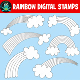 Rainbow Coloring Pages Digital Stamps Printable (Upzaz Digital Clipart)