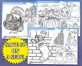 Holiday Coloring Sheets Kids Digital, Christmas, Thanksgiving, Halloween