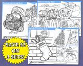 Holiday Coloring Sheets Kids Digital, Christmas, Thanksgiv